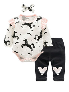 3-Piece Fashion Spring Baby Outfit Flutter Sleeve Unicorn /Leopard Print Bodysuit +Butterfly Trousers+Headband