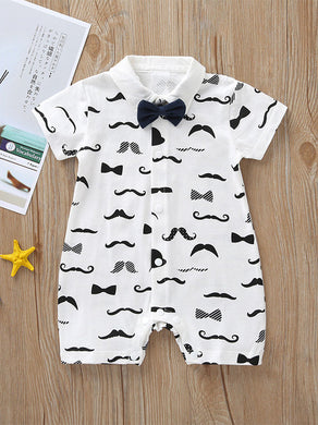 Mustache Print Turn-down Collar Snap-up Shortalls with Bow Tie