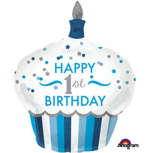 "1st Birthday Boy Cupcake Supershape Balloon - 29"", Party supplier, party decor, corporate party supplier, London Party supplier, Christening Party, Wandsworth Party Supplier, ginger ray, party delights, USA Party Supplier, EU Party Supplier, baby shower supplier, first birthday decorations, first birthday balloons"