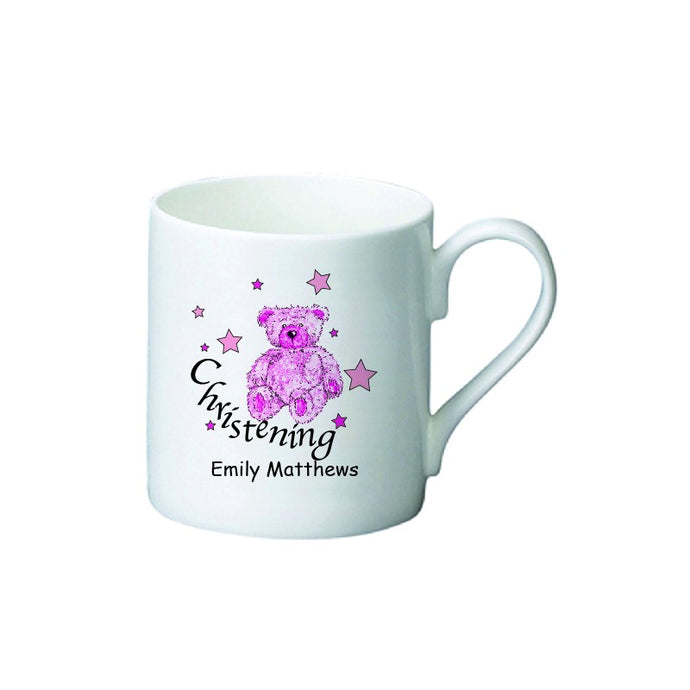 Teddy & Stars Pink Christening Bone China Mug