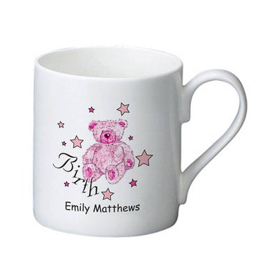 Teddy & Stars Pink Birth Bone China Mug
