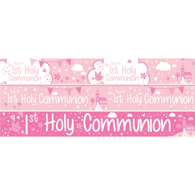 First Holy Communion Paper Banners 3 designs 1m each, holy communion, personalised gifts, table decorations, pink theme, london gift shop, religious gifts, tooting gift shop, tooting market, baptism gifts, chistening gifts, confirmation gifts, baby shower gifts, balloons decor