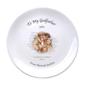 "Cherubs Godfather 8"" Coupe Plate, naming day, naming day gifts, christening gifts, gifts for babies, baby gifts, gifts for girls, gifts for boys, ceramic gifts, cermaic plates, plate gifts, tooting shops, london shops, gift shops, newborn gifts, babyshower gifts, personalised gifts, money box, godchild gifts, godparent gifts, gift shops, london shops, tooting shops, godfather gifts"
