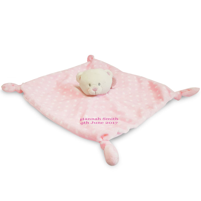 Pink Bear Baby's First Comforter