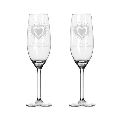 Vintage Heart Pair of Flutes