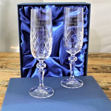 Crystal Champagne Flutes In Presentation Box