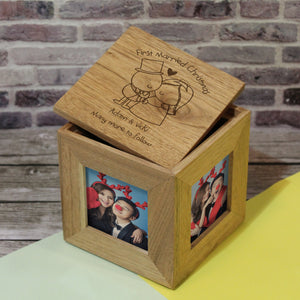 Chilli and Bubbles Married Christmas Wooden Photo Cube