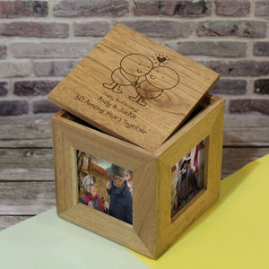 Chilli and Bubbles Anniversary Wooden Photo Cube