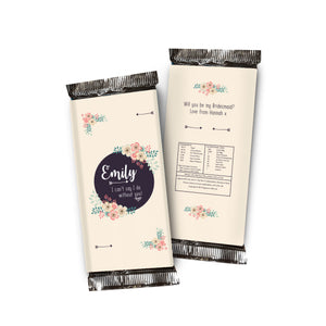 Can't Say I Do Without You Floral Chocolate Bar