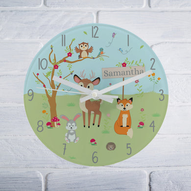 Woodland Glass Clock, personalised gifts, personalised clocks, kids clocks, children clocks, children bedroom, glass clocks, forest ideas, tooting shop, london shops, animal gifts, learning toys, educational toys, tell the time, baby gifts, children birthday gifts