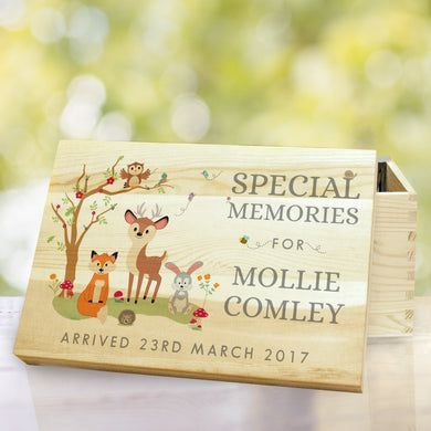 Woodland Wooden Memory Box, memory box, loving memory gifts, christmas gifts, woodland gifts, wooden box gifts, wooden gifts, memory box gifts, christmas gifts, personalised gifts, animal gifts, gifts for kids, gifts for children, gifts for girls, gifts for boys, personalise box, birthday gifts