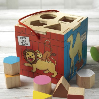 Personalised Zoo Shape Sorter, zoo toys, animal toys, wooden toys, shape toys, educational toys, education, cube toys, christmas toys, personalised toys, personalised gifts, gifts for babies, gifts for boys, gifts for girls, gifts for kids, birthday gifts, children birthday gifts
