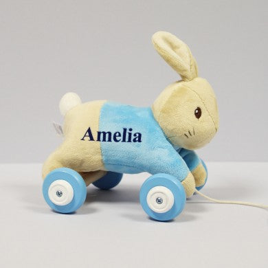 Peter Rabbit Personalised Pull Along Toy, flopsy toys, newborn toys, baby toys, gifts for girls, pull along toys, wooden toys, soft toys, gifts for babies, peter rabbit toys, gifts for boys, christmas toys