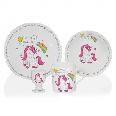 unicorn breakfast set, unicorn gifts, breakfast sets, weaning time, unicorn toys, meal times, personalised gifts, christmas gifts, birthdsy gifts, gifts for girls