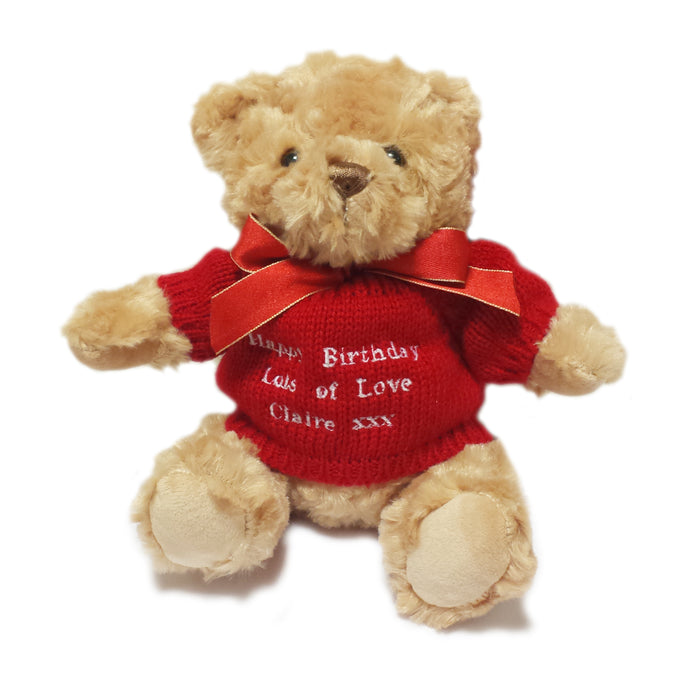 Brown Teddy Bear with Embroidered Red Jumper