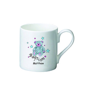 Teddy & Stars Blue Baptism Bone China Mug