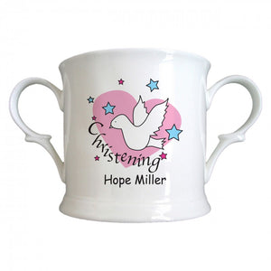 Dove & Hearts Pink Christening Bone China Loving Cup