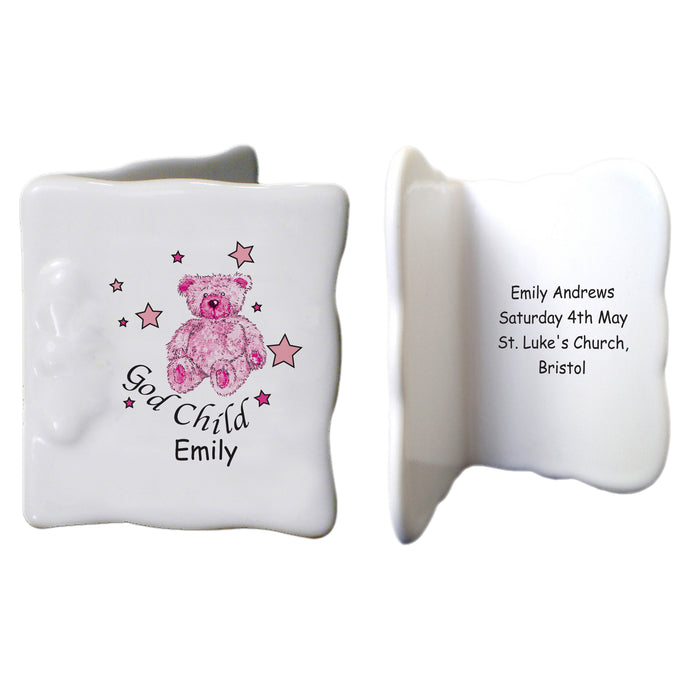 Teddy & Stars Pink Godchild  Bone China Message Card