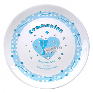 "Blue Heart Holy Communion 8"" Coupe Plate, naming day, naming day gifts, christening gifts, gifts for babies, baby gifts, gifts for girls, gifts for boys, ceramic gifts, cermaic plates, plate gifts, tooting shops, london shops, gift shops, newborn gifts, babyshower gifts, personalised gifts, money box, godchild gifts, godparent gifts, gift shops, london shops, tooting shops"