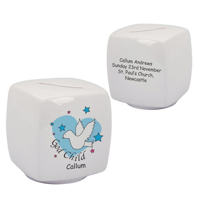 Dove & Hearts Blue Godchild Bone China Moneybox, naming day, naming day gifts, christening gifts, gifts for babies, baby gifts, gifts for girls, gifts for boys, ceramic gifts, cermaic plates, plate gifts, tooting shops, london shops, gift shops, newborn gifts, babyshower gifts, personalised gifts, money box, godchild gifts, godparent gifts, gift shops, london shops, tooting shops