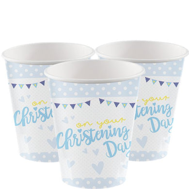 Christening Day Blue Cups - 266ml Paper Party Cups, Party supplier, party decor, corporate party supplier, London Party supplier, Christening Party, Wandsworth Party Supplier, ginger ray, party delights, USA Party Supplier, EU Party Supplier