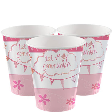 First Holy Communion Pink Cups - 266ml Paper Party Cups, holy communion, personalised gifts, table decorations, pink theme, london gift shop, religious gifts, tooting gift shop, tooting market, baptism gifts, chistening gifts, confirmation gifts, baby shower gifts, balloons decor