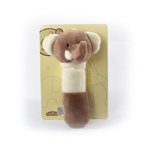 Ellie & Raff Head Plush Hand Rattle Grey & Cream