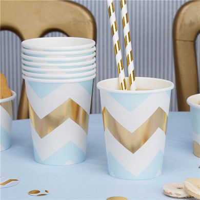Pattern Works Blue & Gold Chevron Cups, Tooting baby shower shop, baby gift shop, london gift shop, surrey gift shop, baby gifts, parents to be gifts, greeting card shop, helium balloon, personalised gifts, merton gift shop, premature baby clothes, baby shower planner, baby shower shop, london baby shower, baby shower games, baby shower keepsakes, baby shower gifts for mum, hobby craft, what is a baby shower party, mummy to be sash, natural baby shower