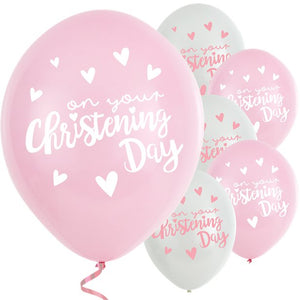 "Pink Christening Day Latex Balloons - 11"" Latex, Party supplier, party decor, corporate party supplier, London Party supplier, Christening Party, Wandsworth Party Supplier, ginger ray, party delights, USA Party Supplier, EU Party Supplier, baby shower supplier"