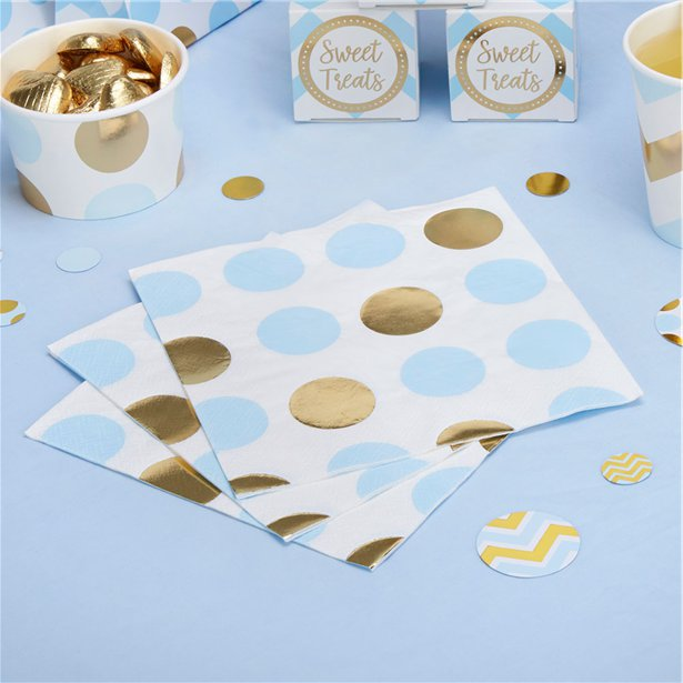Pattern Works Blue & Gold Polka Dot Napkins - 33cm, Tooting baby shower shop, baby gift shop, london gift shop, surrey gift shop, baby gifts, parents to be gifts, greeting card shop, helium balloon, personalised gifts, merton gift shop, premature baby clothes, baby shower planner, baby shower shop, london baby shower, baby shower games, baby shower keepsakes, baby shower gifts for mum, hobby craft, what is a baby shower party, mummy to be sash, natural baby shower
