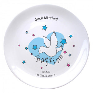 "Dove & Hearts Blue Baptism 8"" Coupe Plate, naming day, naming day gifts, christening gifts, gifts for babies, baby gifts, gifts for girls, gifts for boys, ceramic gifts, cermaic plates, plate gifts, tooting shops, london shops, gift shops, newborn gifts, babyshower gifts, personalised gifts, money box, godchild gifts, godparent gifts, gift shops, london shops, tooting shops, baptism gifts"