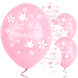 "Pink First Holy Communion Latex Balloons - 11"" Latex"
