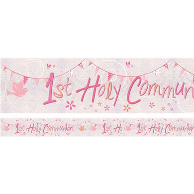 First Holy Communion Pink Holographic Foil Banner - 2.7m, holy communion, personalised gifts, table decorations, pink theme, london gift shop, religious gifts, tooting gift shop, tooting market, baptism gifts, chistening gifts, confirmation gifts, baby shower gifts, balloons decor