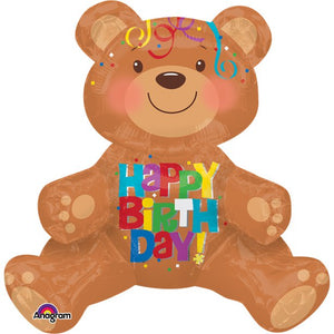 "Happy Birthday Sitting Bear Balloon - 19"" Foil, Party supplier, party decor, corporate party supplier, London Party supplier, Christening Party, Wandsworth Party Supplier, ginger ray, party delights, USA Party Supplier, EU Party Supplier, baby shower supplier, first birthday decorations, first birthday balloons"