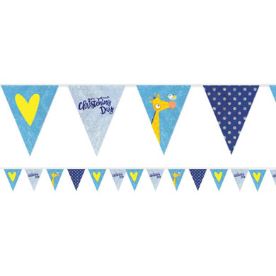 Christening Day Blue Holographic Foil Bunting - 4m, Party supplier, party decor, corporate party supplier, London Party supplier, Christening Party, Wandsworth Party Supplier, ginger ray, party delights, USA Party Supplier, EU Party Supplier, baby shower supplier