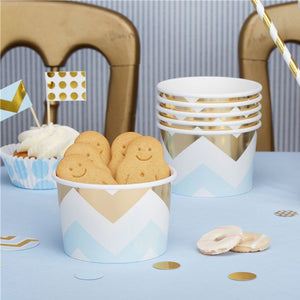 Pattern Works Blue & Gold Chevron Treat Tubs, Party supplier, party decor, corporate party supplier, London Party supplier, Christening Party, Wandsworth Party Supplier, ginger ray, party delights, USA Party Supplier, EU Party Supplier, baby shower supplier
