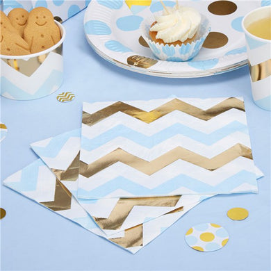 Pattern Works Blue & Gold Chevron Napkins - 33cm,Party supplier, party decor, corporate party supplier, London Party supplier, Christening Party, Wandsworth Party Supplier, ginger ray, party delights, USA Party Supplier, EU Party Supplier, baby shower supplier