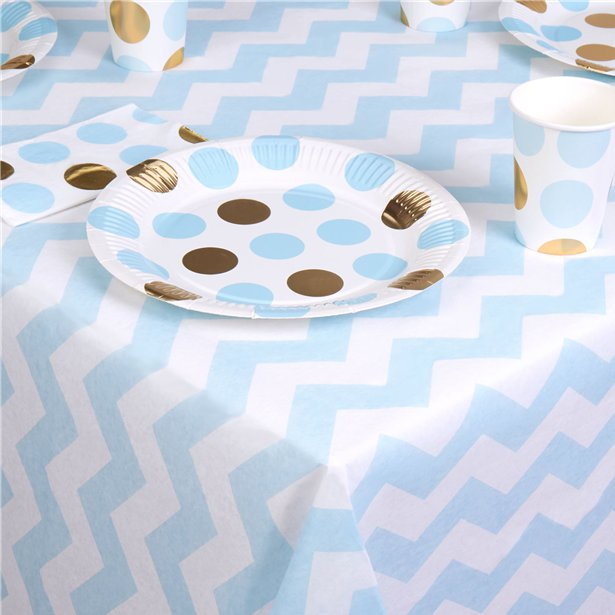 Pattern Works Blue Chevron Tablecover - 1.8m, Party supplier, party decor, corporate party supplier, London Party supplier, Christening Party, Wandsworth Party Supplier, ginger ray, party delights, USA Party Supplier, EU Party Supplier, baby shower supplier