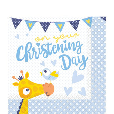 Christening Day Blue Paper Napkins - 33cm,Party supplier, party decor, corporate party supplier, London Party supplier, Christening Party, Wandsworth Party Supplier, ginger ray, party delights, USA Party Supplier, EU Party Supplier