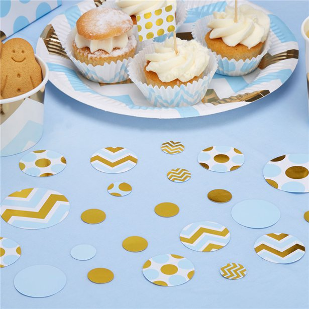 Pattern Works Blue & Gold Table Confetti, Party supplier, party decor, corporate party supplier, London Party supplier, Christening Party, Wandsworth Party Supplier, ginger ray, party delights, USA Party Supplier, EU Party Supplier, baby shower supplier