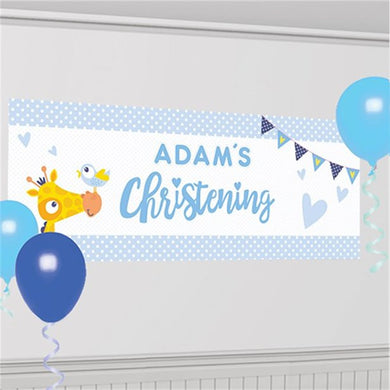 Christening Day Blue Personalised Banner - 1.2m, Party supplier, party decor, corporate party supplier, London Party supplier, Christening Party, Wandsworth Party Supplier, ginger ray, party delights, USA Party Supplier, EU Party Supplier, baby shower supplier