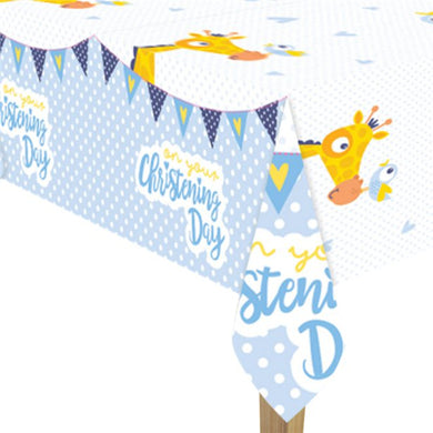 Christening Day Blue Plastic Tablecover - 1.8m x 1.2m, Party supplier, party decor, corporate party supplier, London Party supplier, Christening Party, Wandsworth Party Supplier, ginger ray, party delights, USA Party Supplier, EU Party Supplier