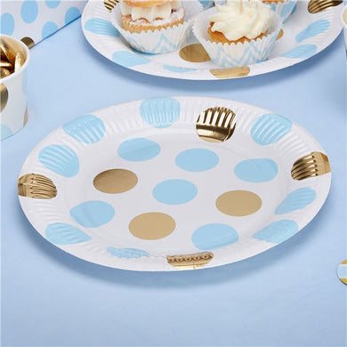 Pattern Works Blue & Gold Polka Dot Plates, Party supplier, party decor, corporate party supplier, London Party supplier, Christening Party, Wandsworth Party Supplier, ginger ray, party delights, USA Party Supplier, EU Party Supplier, baby shower supplier