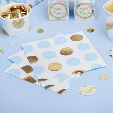 Pattern Works Blue & Gold Polka Dot Napkins - 33cm, Party supplier, party decor, corporate party supplier, London Party supplier, Christening Party, Wandsworth Party Supplier, ginger ray, party delights, USA Party Supplier, EU Party Supplier, baby shower supplier