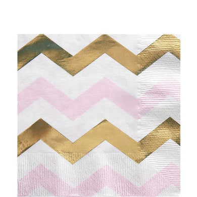 Pattern Works Pink Chevron Paper Napkins - 33cm, Party supplier, party decor, corporate party supplier, London Party supplier, Christening Party, Wandsworth Party Supplier, ginger ray, party delights, USA Party Supplier, EU Party Supplier, baby shower supplier