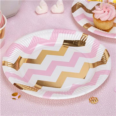 Pattern Works Pink Chevron Plates - 23cm, Party supplier, party decor, corporate party supplier, London Party supplier, Christening Party, Wandsworth Party Supplier, ginger ray, party delights, USA Party Supplier, EU Party Supplier, baby shower supplier