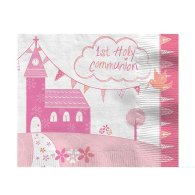 First Holy Communion Pink Napkins - 33cm, holy communion, personalised gifts, table decorations, pink theme, london gift shop, religious gifts, tooting gift shop, tooting market, baptism gifts, chistening gifts, confirmation gifts, baby shower gifts, balloons decor