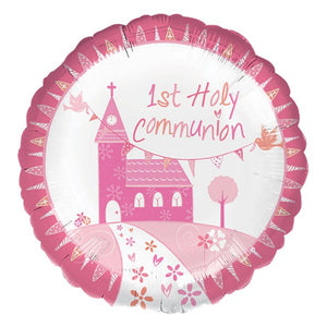 "First Holy Communion Pink Balloon - 18"" Foil,holy communion, personalised gifts, table decorations, pink theme, london gift shop, religious gifts, tooting gift shop, tooting market, baptism gifts, chistening gifts, confirmation gifts, baby shower gifts, balloons decor"