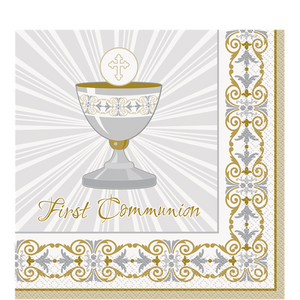 Silver & Gold Radiant Cross First Holy Communion Napkins - 33cm, holy communion, personalised gifts, table decorations, pink theme, london gift shop, religious gifts, tooting gift shop, tooting market, baptism gifts, chistening gifts, confirmation gifts, baby shower gifts, balloons decor