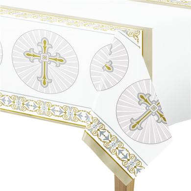 Silver & Gold Radiant Cross Plastic Tablecover - 1.4m x 2m, holy communion, personalised gifts, table decorations, pink theme, london gift shop, religious gifts, tooting gift shop, tooting market, baptism gifts, chistening gifts, confirmation gifts, baby shower gifts, balloons decor